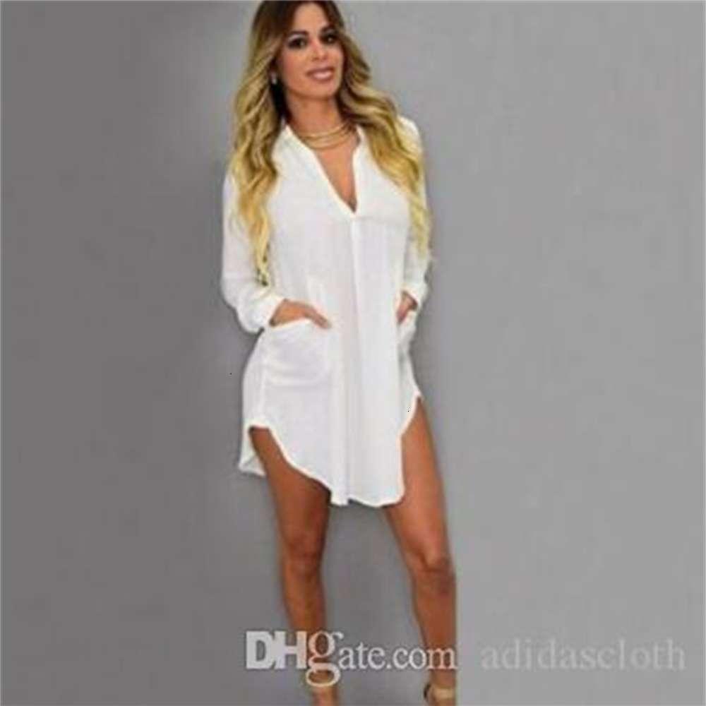 Shirt skirt Dress V Neck Short Beach Dress Chiffon White Mini Loose Casual T Shirt Dress Plus Size Women Clothing
