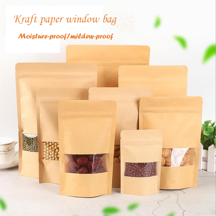 Food Moisture-proof Bags Kraft Paper with Aluminum Foil Lining Stand UP Pouch valve Packaging seal Bag for Snack Candy Cookie Baking