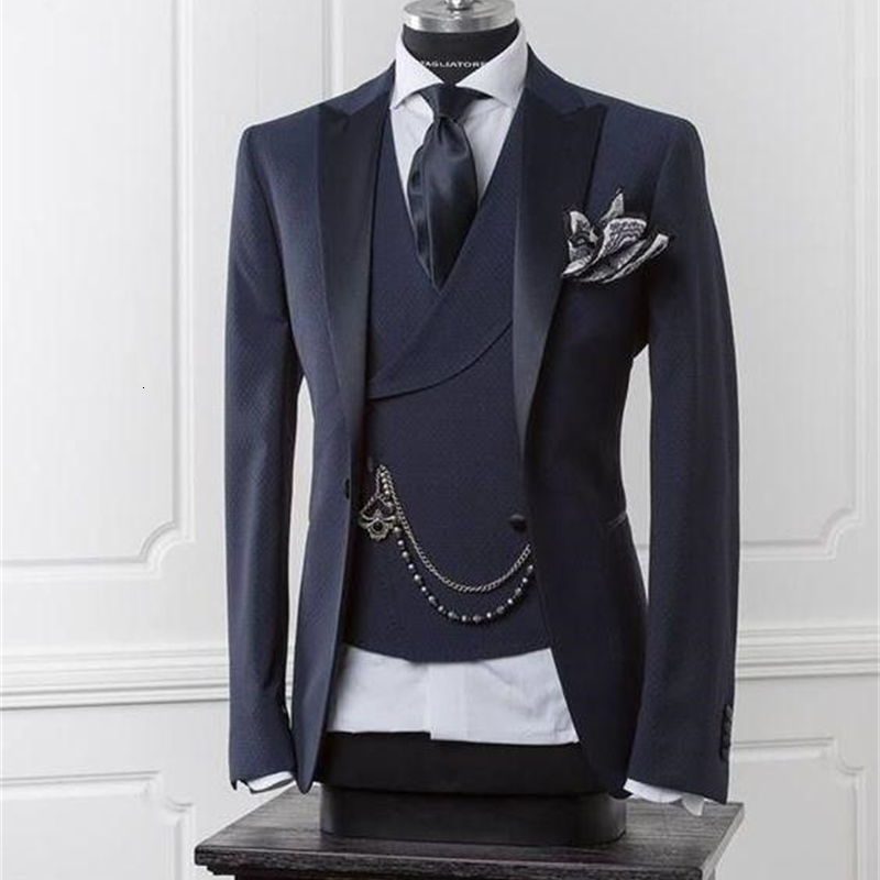 Navy Blue Men Blazer Business Modern Men Suit With Pants Slim Fit Wedding Suits For Men Prom Formal Jacket Tuxedo Costume custom