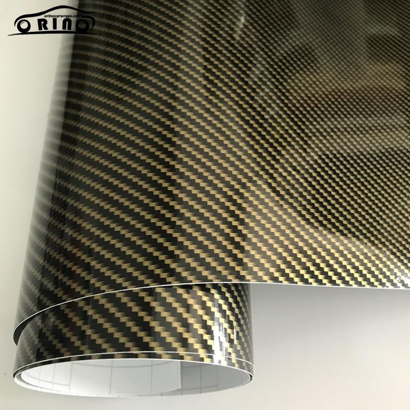 2D Gold Carbon Fiber Vinyl Wrap Sticker-3