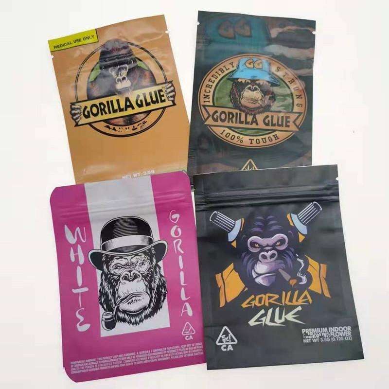 3.5g mylar bag empty plastic 4 design gorilla glue edibles packaging zipper stand up pouch