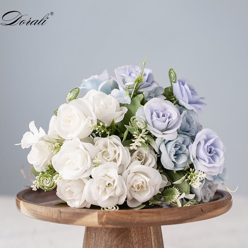 white silk artificial rose flowers for wedding marriage diy decoration small craft flowers blue mini fake flowers for home decor