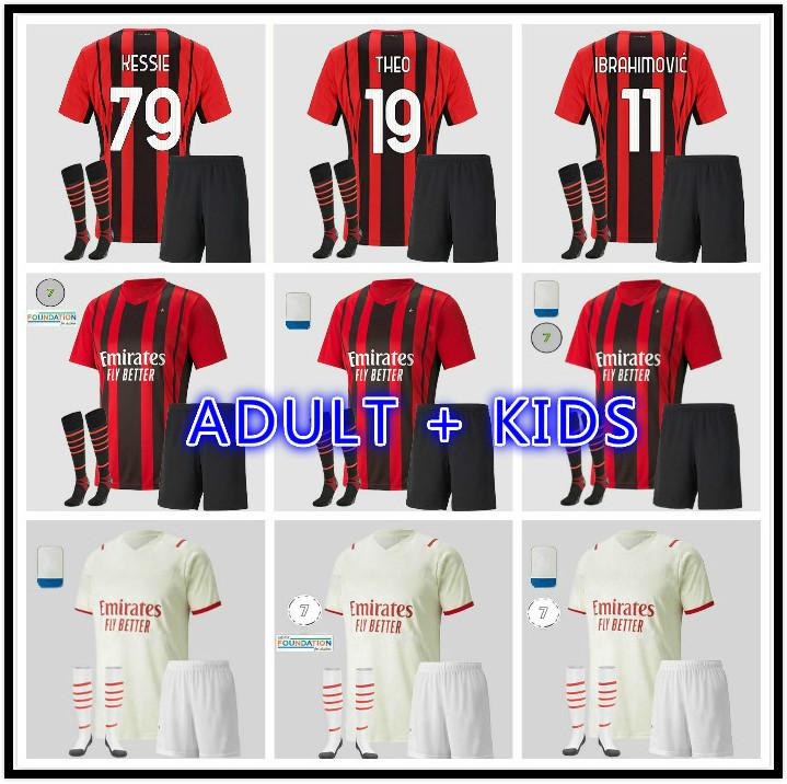 adult kids kit AC 2021 2022 Milan IBRAHIMOVIC home away soccer jerseys 20 21 22 PIATEK PAQUETA THEO REBIC football shirts youth boys uniforms