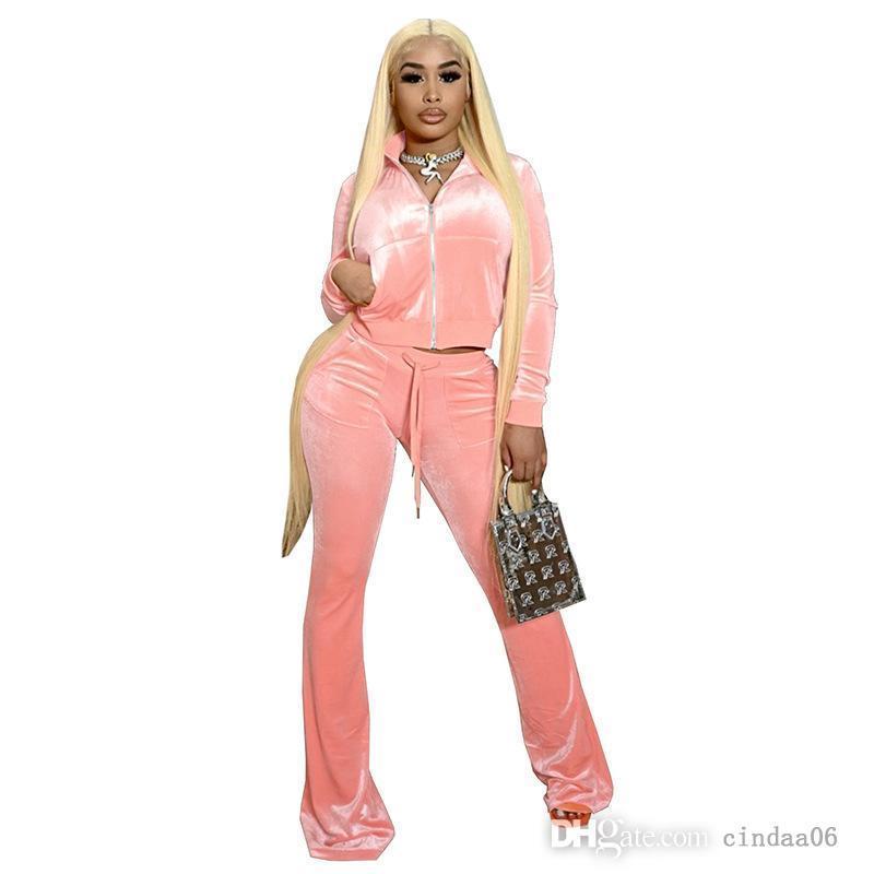 Women Velvet Tracksuits Solid Outfits Zipper Front Pocket Long Sleeve Jacket+bell Bottom Wid Leg Pant Matching Set