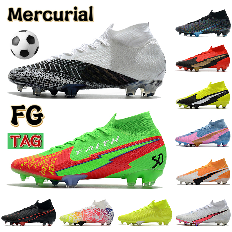 2022 Mercurial Superfly 7 Elite FG mens Soccer boots Shoes leather black white Anthracite metallic bomber grey Korea volt football cleats Sneakers