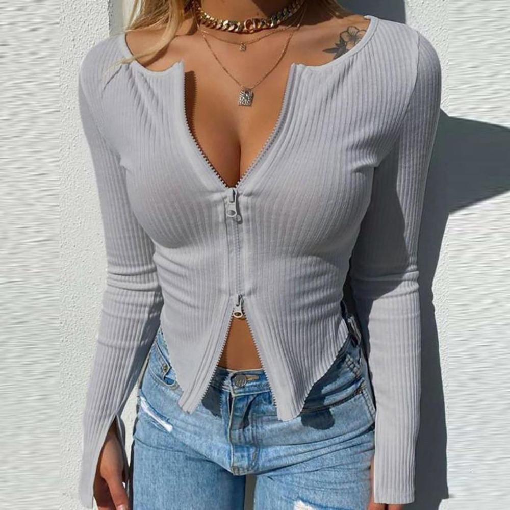 Soild Color Womens Tshirts Casual Cardigan Womens Tops Sexy Long Sleeve Crew Neck Slim Womens Clothing