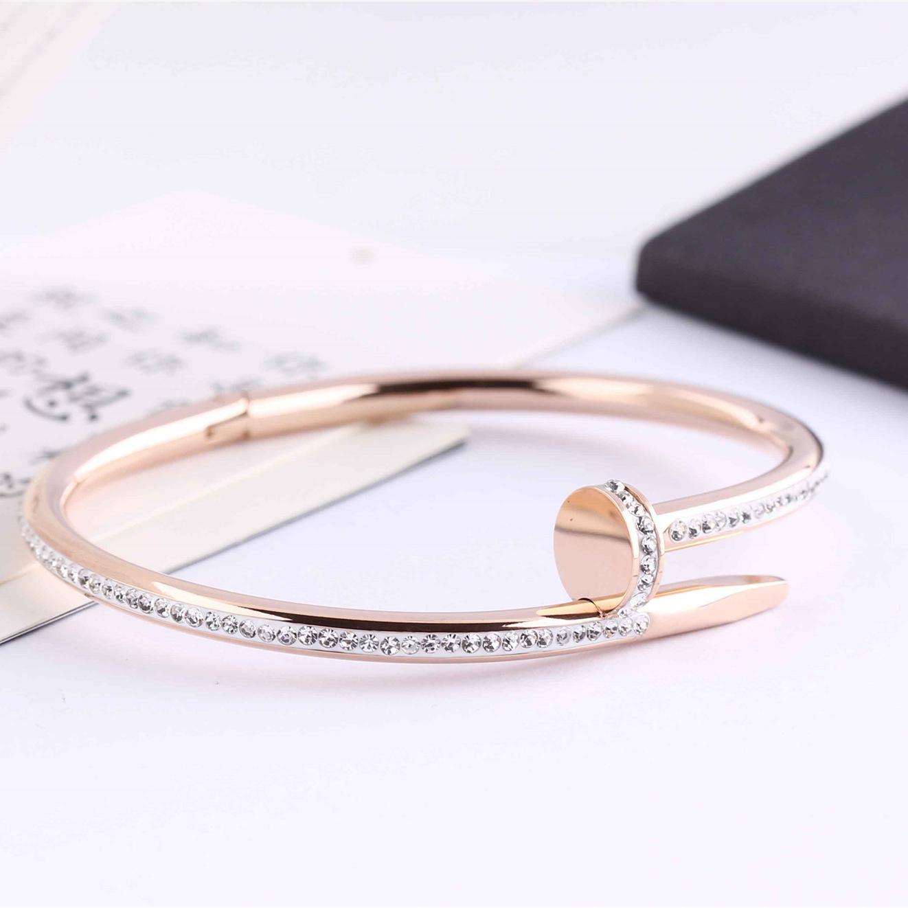 Titanium Steel Distance Bangle Bracelet Full Diamond Bracelets Women 5.8cm Fashion Gold Love Jewelry Gift For Lover No Box