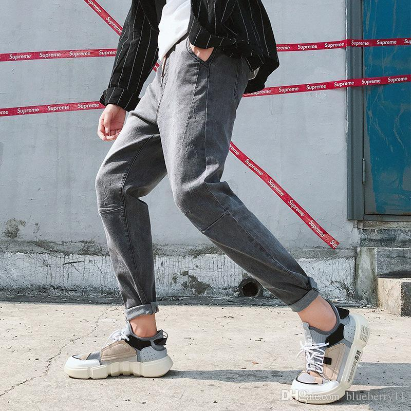 Autumn New Mens Jeans Large Size Solid Color Slim Feet Harem Pants Winter Loose Men's Jeans Blue Tide