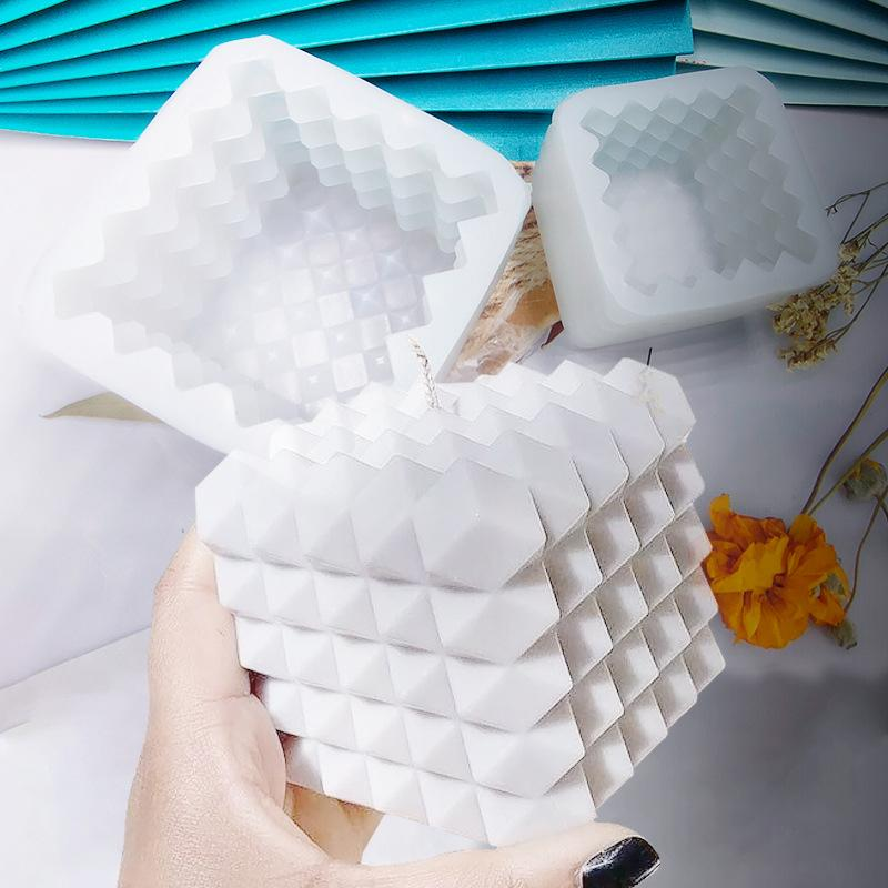 Craft Tools 1 PC 3D Cube Baking Mousse Cake Mold Silicone Square Bubble Dessert Molds Tray Kitchen Bakeware Candle Plaster Mould