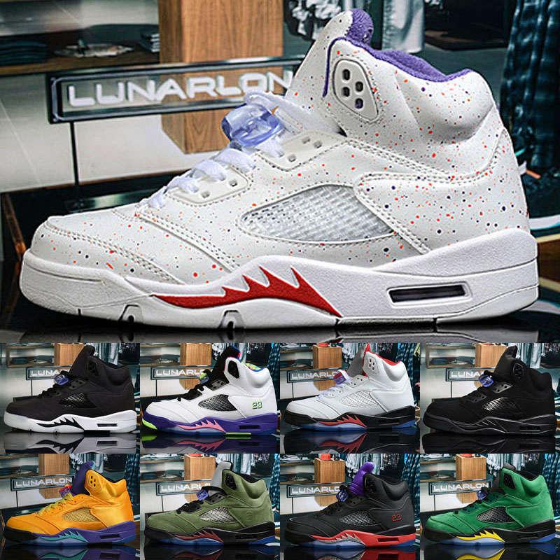 Jumpman 5 5s Black muslin fresh prince satin bred Women Men basketball shoes Grape Prin Island Green mens sneakers Size 36-47