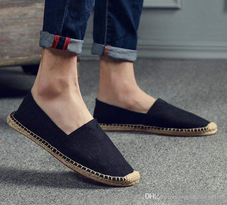 With Box Summer Casual Linen Shoes Men Womens Handmade Straw Hemp Fisherman Shoes Lazy One Pedal Canvas Shoes Size 35-45