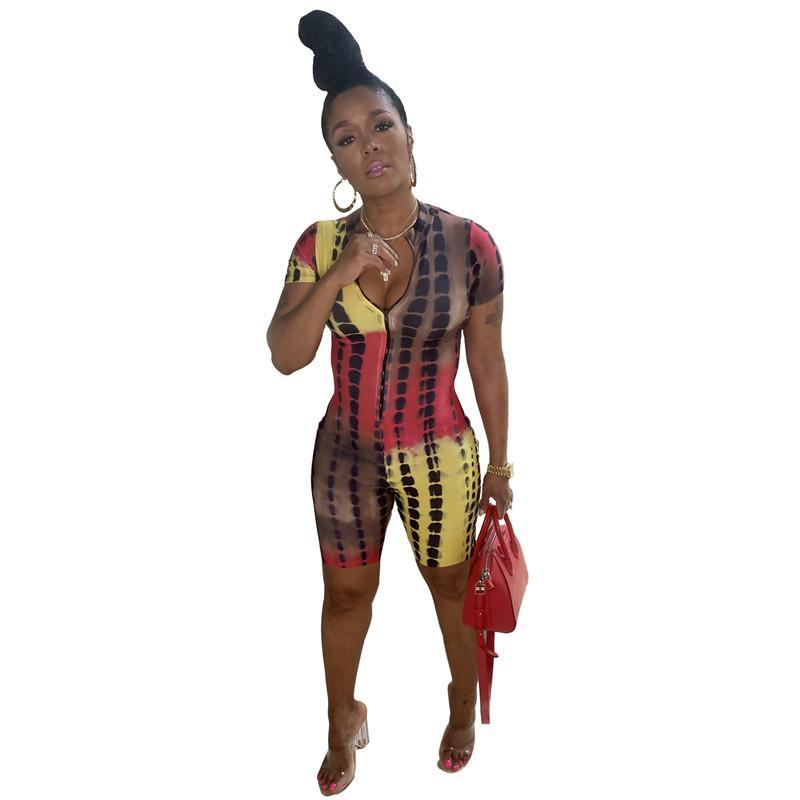 Bulk sexy womens jumpsuits rompers one piece shorts elegant fashion print v-neck bodycon skinny jumpsuit pullover comfortable clubwear selling clothing klw6580