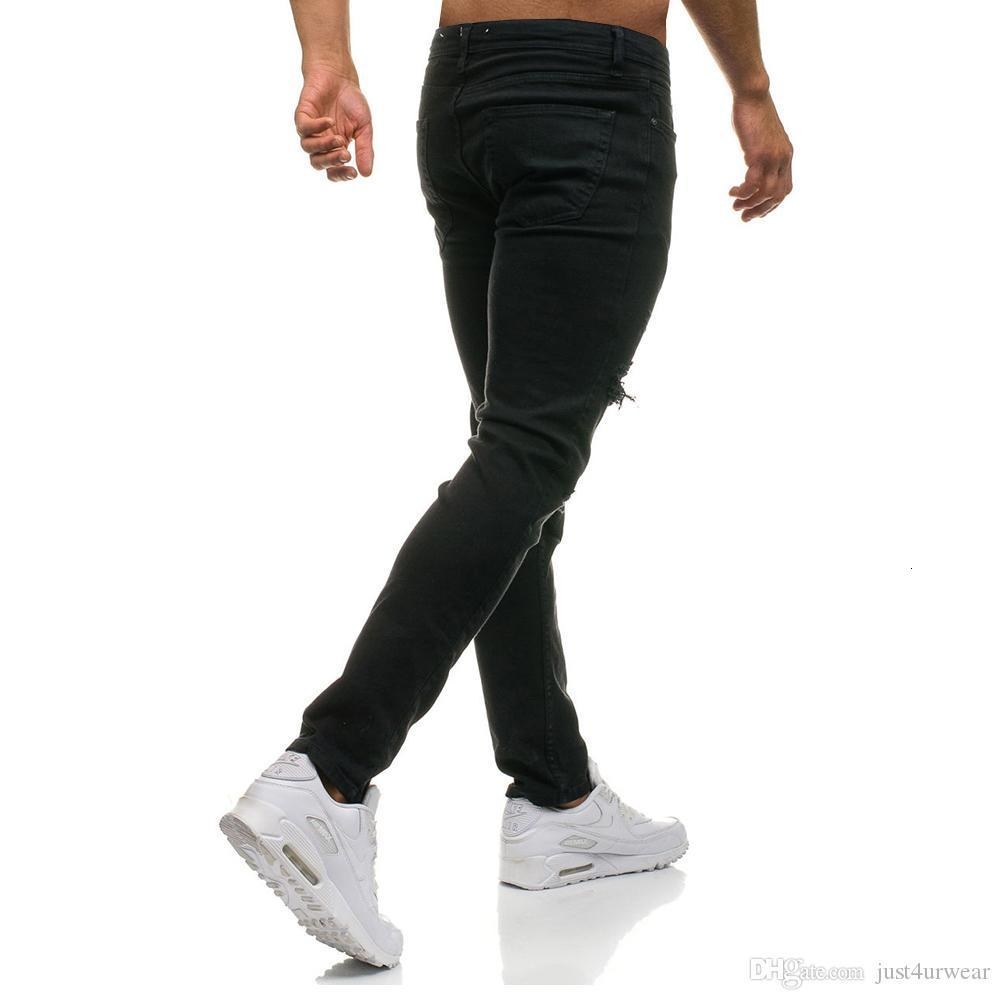 Mens Ripped Stretch Black Jeans Fashion Designer Slim Fit Washed Motocycle Denim Pants Panelled Hip Hop Zipper Trousers