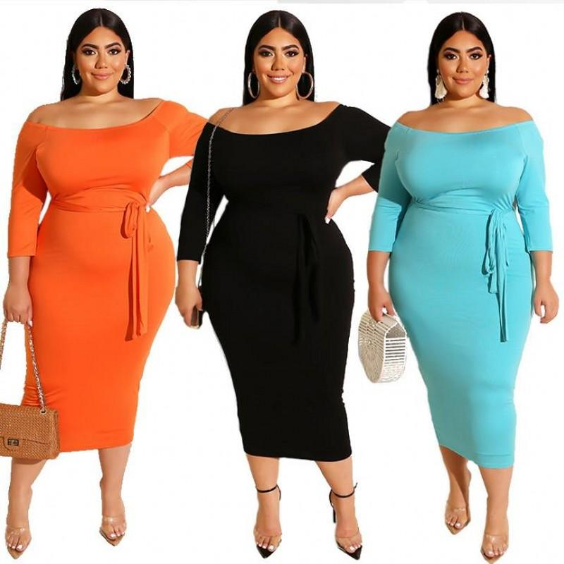 Casual Dresses Summer Fall Solid Plus Size Women Dress Slash Neck Long Sleeves Stretchy Mid Calf Bodycon For Party Nightclub