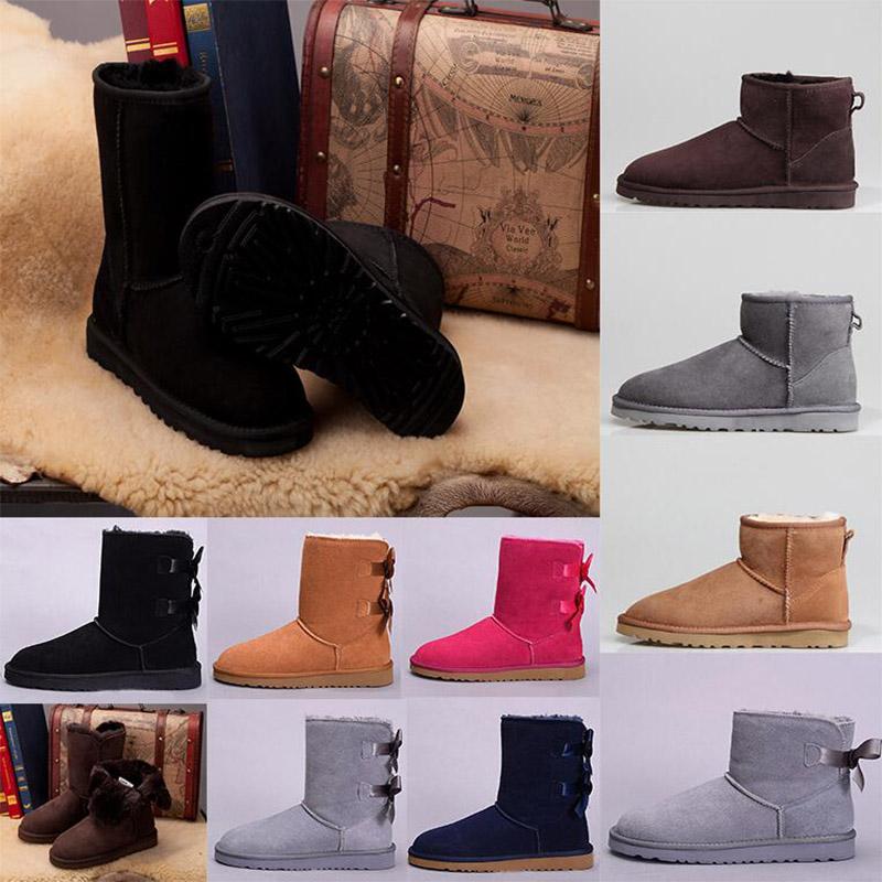 Black WGG designer women Ankle snow boots lady Classic tall chestnut Bailey Bowknot leather winter womens Half Knee Australia australian boot