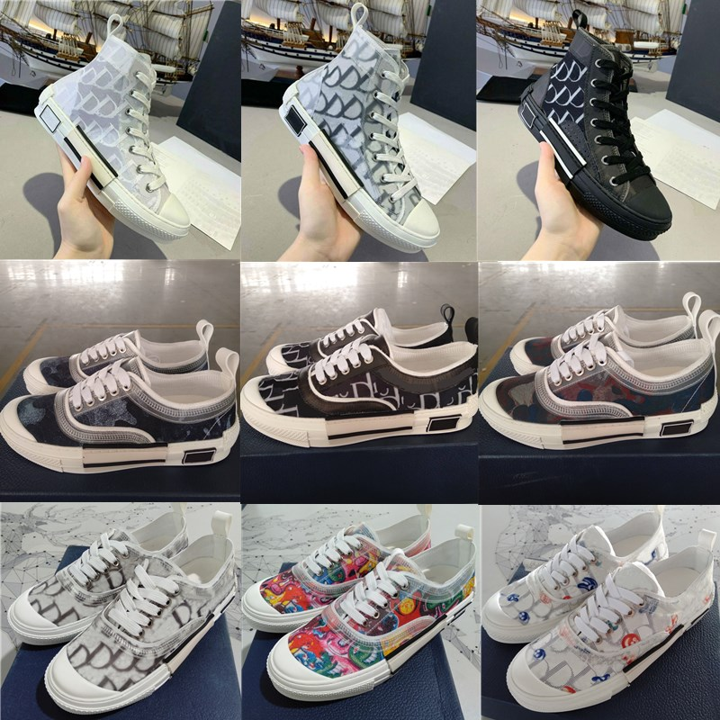 2021 Designer B22 B23 Casual Shoes Oblique High Low Top Sneakers Obliques Technical Embroidery Flowers Trainers Luxury Outdoor Leather Shoe With Box Accessories