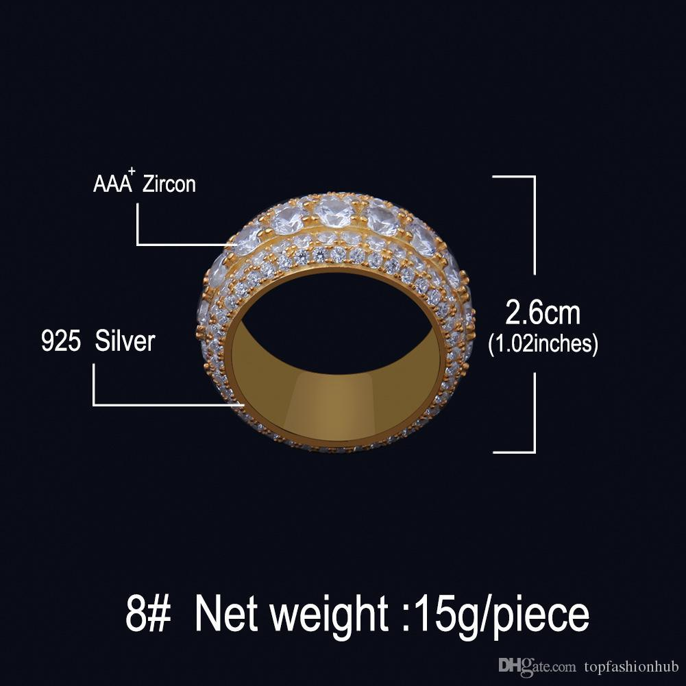 European and American men's high-end S925 silver Full zircon ring Hiphop large ring anti oxidation and color retaining accessories