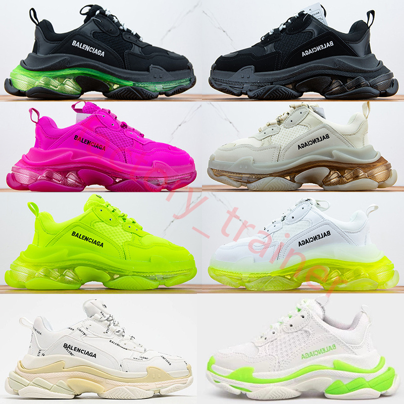 2021 Balenciaga Casual Shoes Crystal Bottom Paris 17FW Triple S Designer Sneakers Men Women Vintage Platform Tripler Mens Sports Trainers Clear sole Dad Shoe