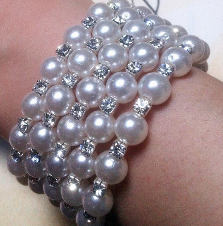 Shining 3 Row 4 Row Rhinestone Pearls Bracelet multi-layer stretch Pearls Bracelet Bridal Rhinestone Bracelet Cheap Wedding Party ps1178