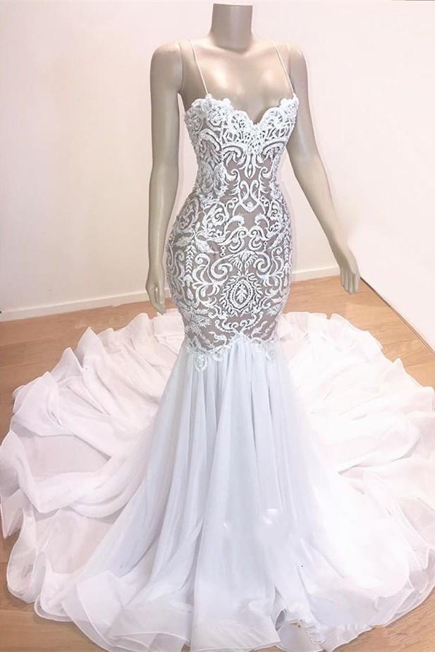 Custom Made Real Image Wedding Dresses Spaghetti Straps Lace Applique Chiffon Mermaid Wedding Gowns Sexy vestido de novia