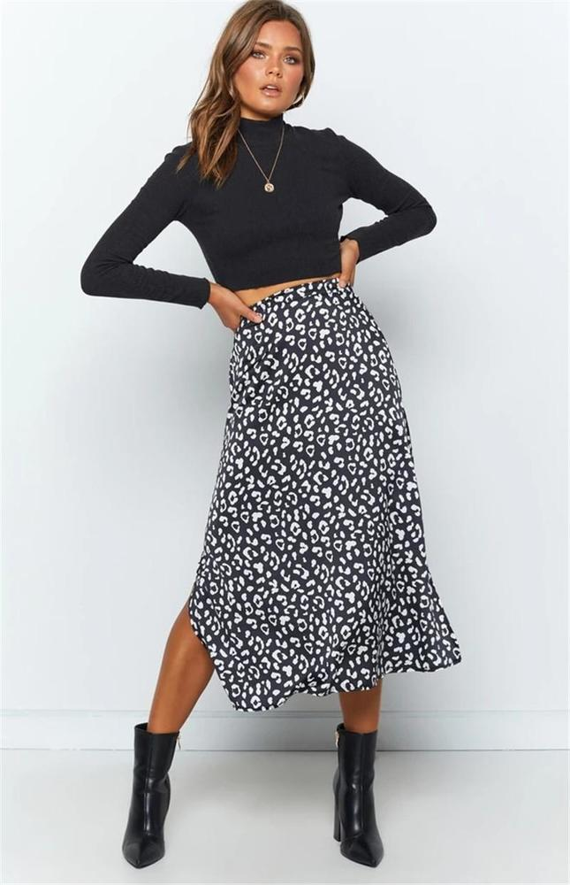 2020 Summer Women Skirt Fashion Leopard Print High Waist Split Skirts Korean Style Womens Midi Calf Skirt Punk Streetwear