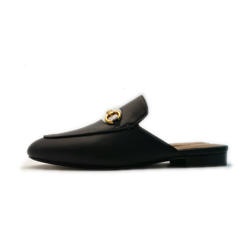 Sandals GG player leather mule, women's famous brand horse shoes, fashion sli E3HT