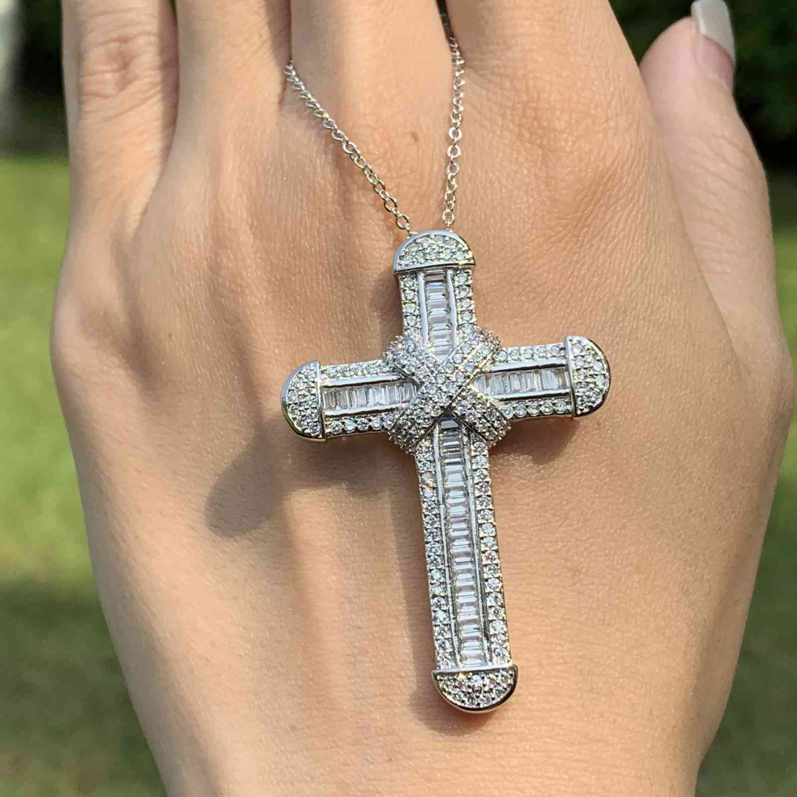 Victoria Wieck Luxury Jewelry Real 925 Sterling Silver Pave White Topaz CZ Diamond Gemstones Cross Pendant Lucky Women Necklace For Party