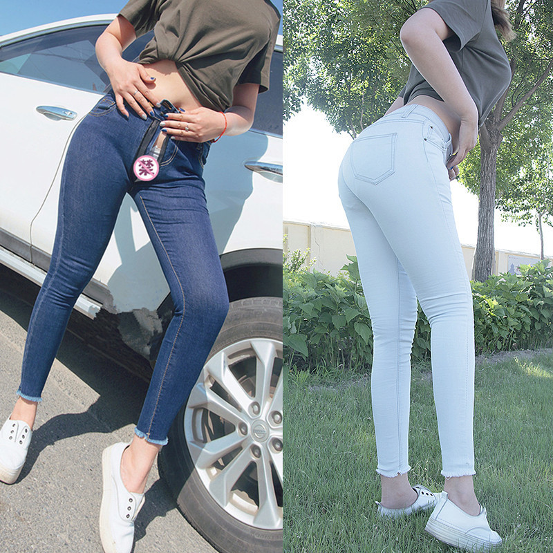 Outdoor Sex Women Sexual Clothes Women's Zipper Trousers Denim Tights Ny Jeans Fashion Ladies Blue Pencil Pants Female