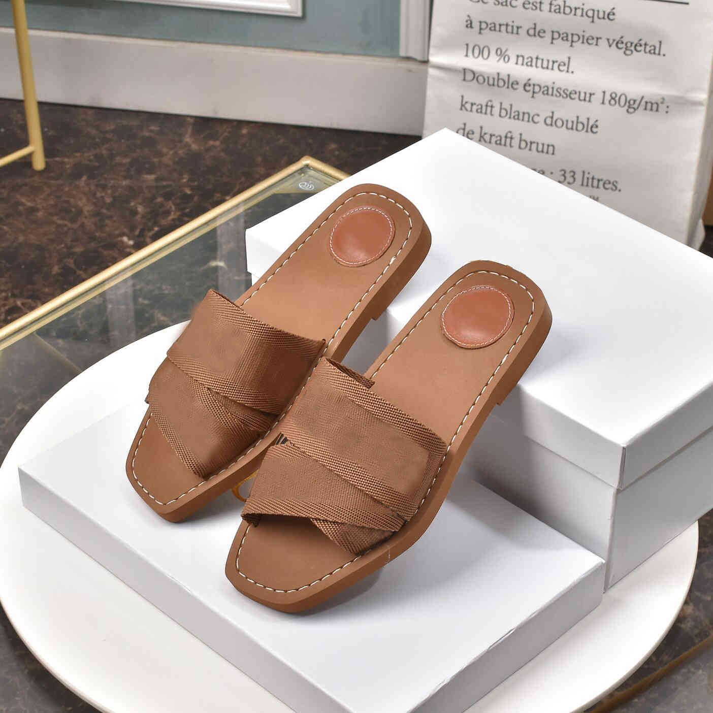 Fahsion Classics Women Slippers Ladies Flip Flops Loafers Womens Woody Mules Slides Shoes Outdoor Leather Sole Slide Sandal