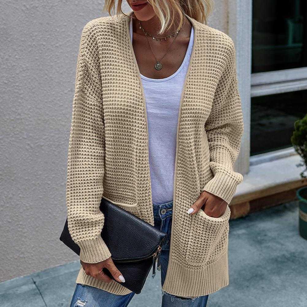 Women Casual Long Sleeve Waffle Knit Open Front Cardigan Coat Pockets Sweater Q0828