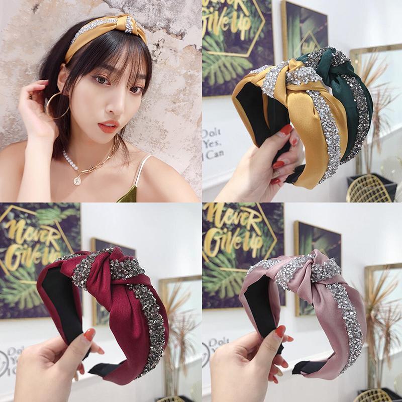 Fashion Shining Rhinestone Hairband Headband Women Wide Side Headwear Solid Casual Headwear Turban Hair Accessories Wholesale