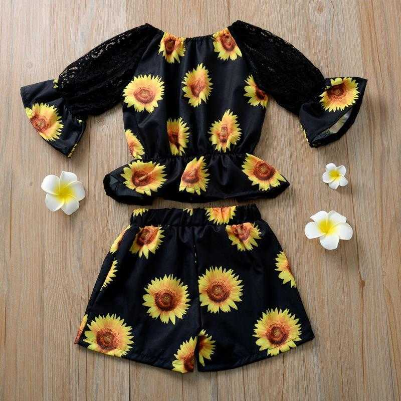 kids Clothing Sets girls sunflower outfits children Lace Flare Sleeve Tops+shorts Summer fashion baby Clothes Z0424