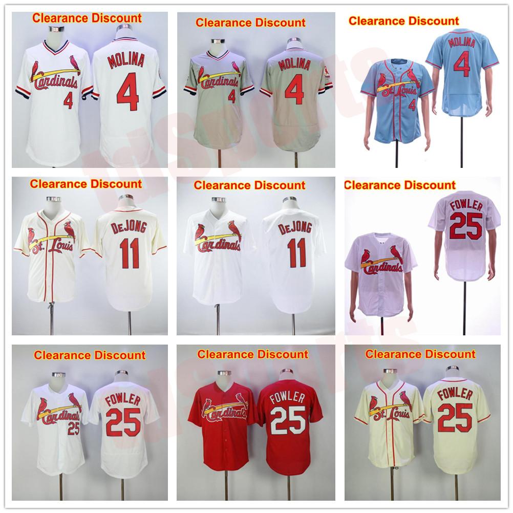 Baseball 4 Yadier Molina Cardinal Jersey 11 Paul DeJong 25 Dexter Fowler Flexbase Cool Base Stitched Blue White Red Grey Beige Clearance