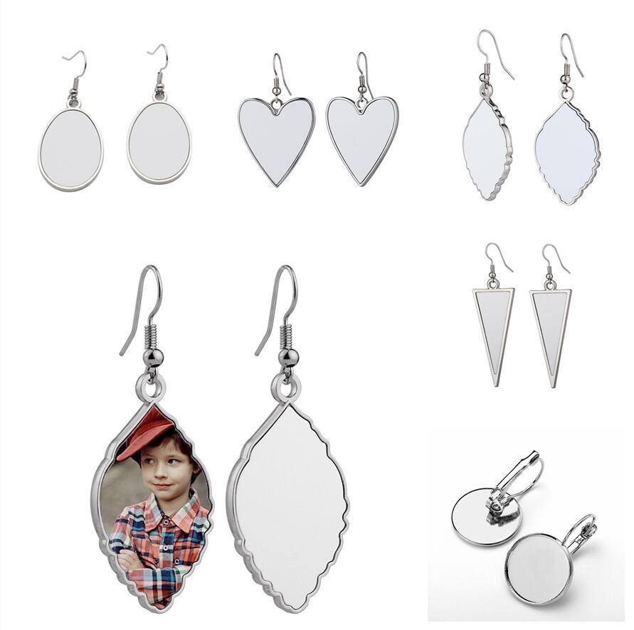 5 Styles Sublimation Earrings Party Favor Blank DIY Customized Metal Dangler Leaf Heart Shaped Heat Transfer Printing Eardrop Earring Jewelry Family Lovers Gift