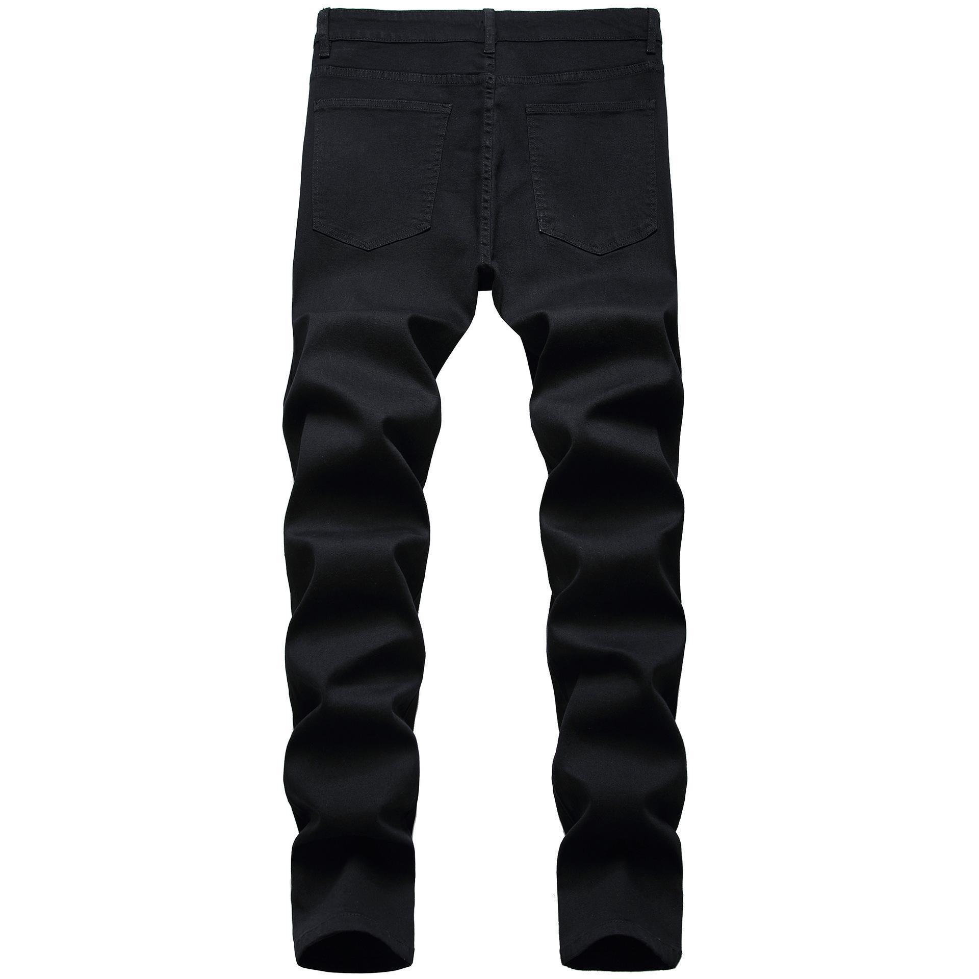 Mens Jean Long Trousers Pencil Denim Pants Street Elastic Black Hole Washed Fashion Casual Fashion Hip Hop Washed Male Pants