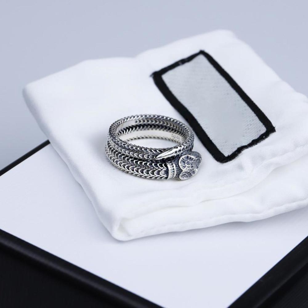 S925 sterling silver snake ring new three-dimensional king snake winding spirit snake ring retro trend men and women ring