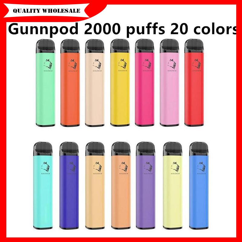 Top quality GunnPod cigarette Disposable E-cigarettes Device Kit 2000 Puffs 1250mAh Battery Prefilled 8ml Pod Stick Vape Pen Vs cuvie plus HZKO idol