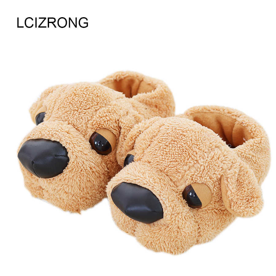 Women Anime Cartoon Dog Slippers Lovers Warm Indoor Woman Slippers Plush Shoes Girl Home Pantufas House Ladies Slippers Children G0915
