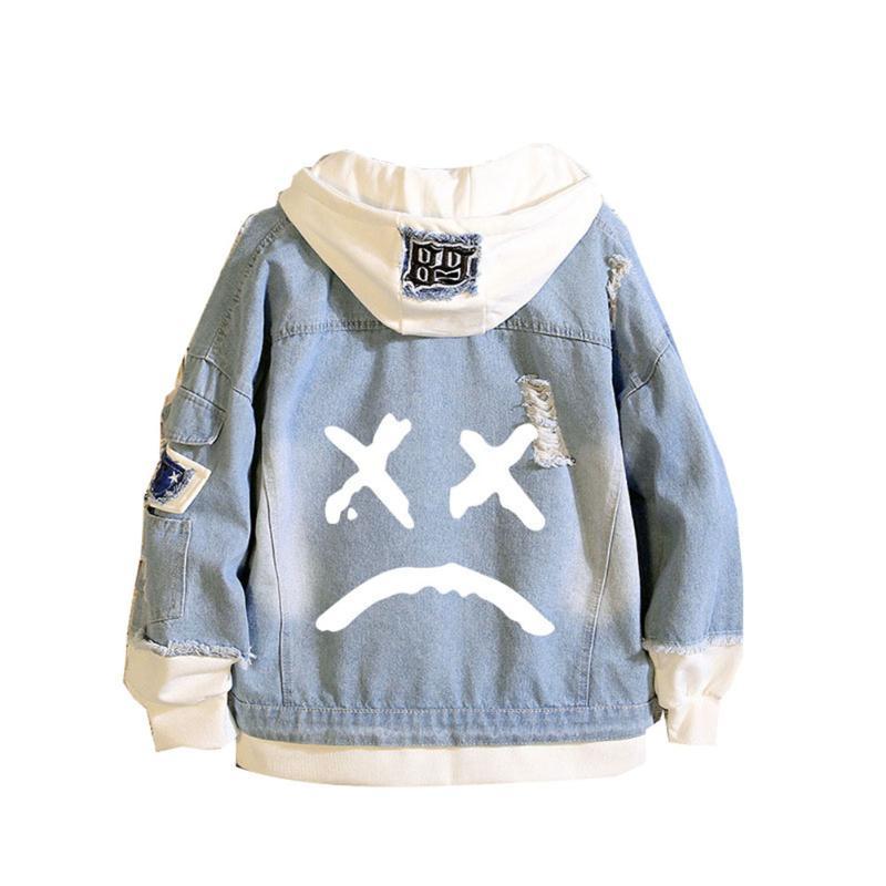 Men's Hoodies & Sweatshirts Hip Hop Lil Peep Men Women Denim Jacket Fashion Hoodie Sudaderas Cry Baby Sweatshirt Teens Coat Cosplay Hoody Pu
