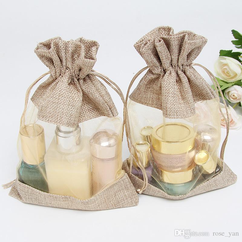 Clear Flax jute Organza Gift Bags 16x22cm6