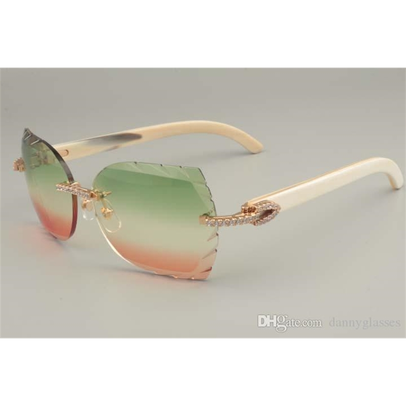 Direct selling high-end diamond sunglasses 8300817-A pure natural white horns mirror legs decorative sunglasses Size: 56-18-140mm