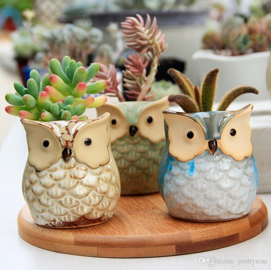 Cute Mini Ceramic Decorative Owl Flower Pots Planters Retro Creative Succulents Nursery Floral Holder Organizer Garden Supplies 6 style