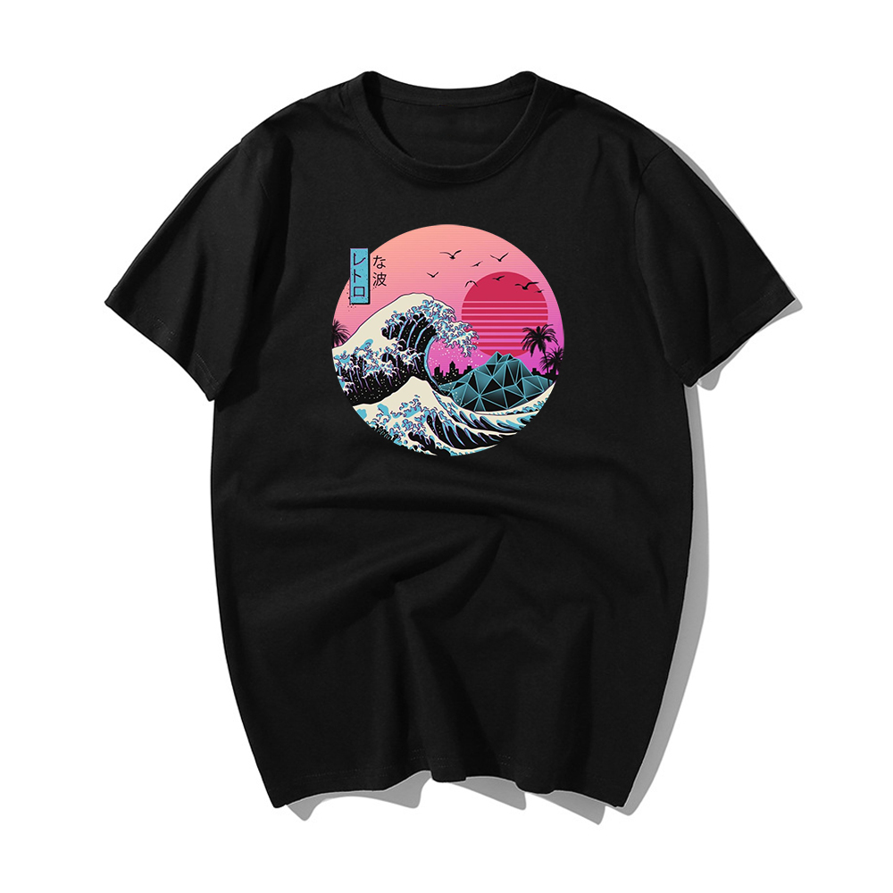 The Great Retro Wave Japan Anime T-shirt Harajuku Streetwear Cotton Camisetas Hombre Men Vaporwave Funny Cool Hip Hop T Shirt
