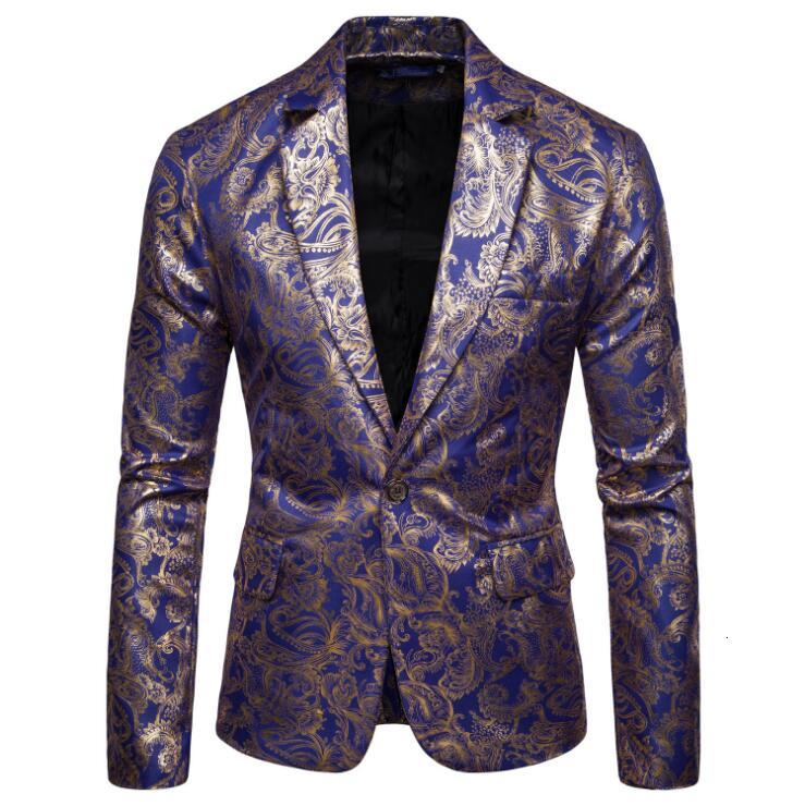 Men Peaked Lapel Wedding Tuxedos Single Jacket Floral Pattern Jacquard Wedding Groom Singers Prom Costume Latest Mens Coat