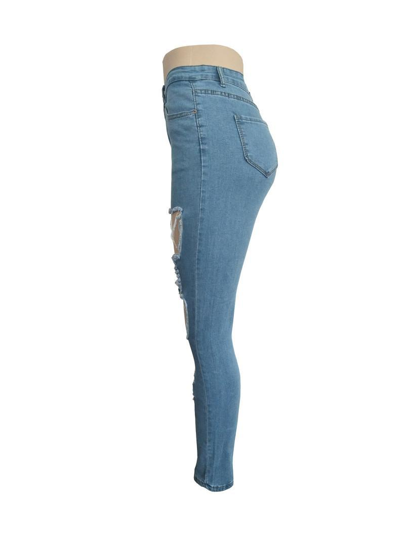 New Fashion Hole Womens Jeans Lighted Washed Designer Denim Hollow Out Street Style Womens Clothes