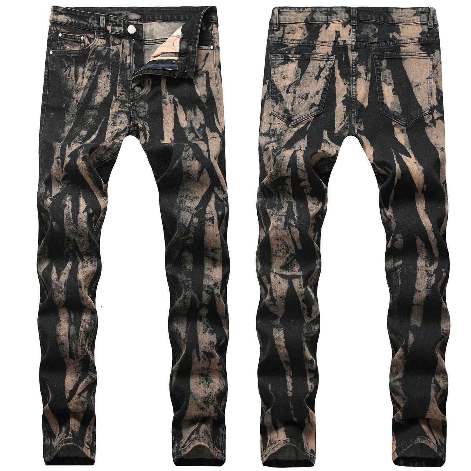 Skinny Mens Jeans vintage Cool Men Jeans Stretch Slim Fit Denim Biker Jeans Hip Hop Men Streetwear 1822#