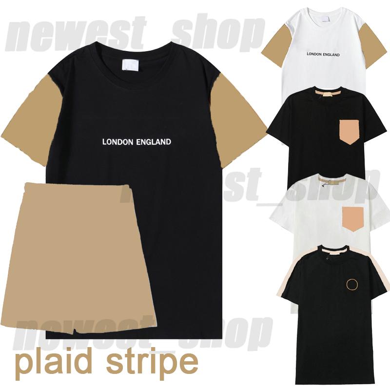 summer mens designer luxury tshirt womens t shirt london england Letter print classic plaid striped patchwork short sleeve tracksuit casual shorts t-shirt tee tops
