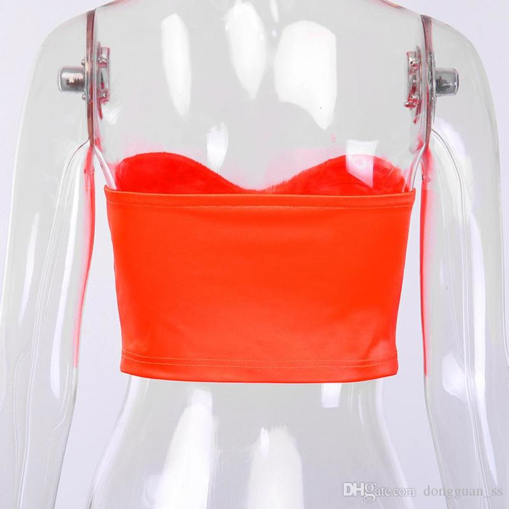 2020 New Summer High Steet Neon Pink/Orange Short Tank Top Sexy Party Clubwear Backless Festival Clothing Bodycon Tube top