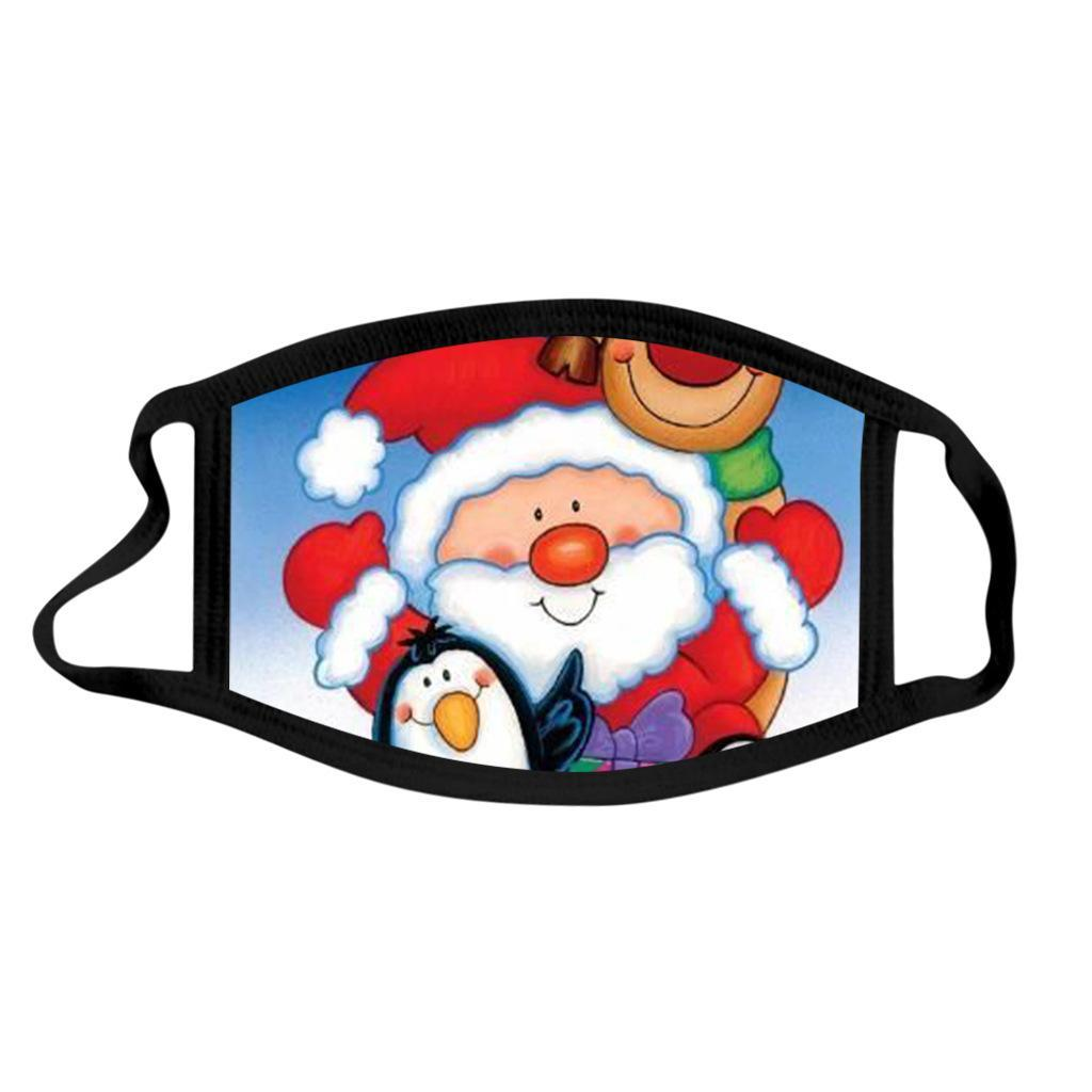 Customed Merry Christmas Face Mask Fashion Creativity Cartoons Printing Masks Dust-proof Reusable Washable Xmas Mouth Mask For Adult