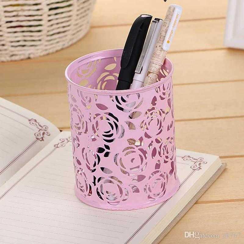 New Wholesale Metal Cylinder Handwork Flower design Pen Pencil Eraser Holder for school supplies
